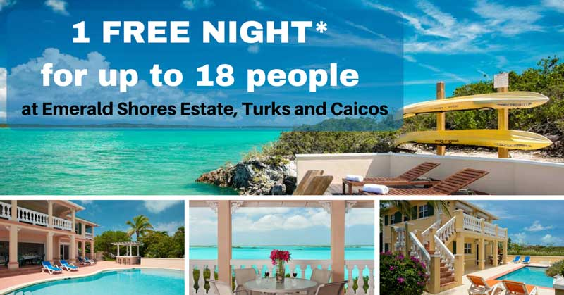 Turks and Caicos Villa Rental Special: 1 Free Night for up to 18 people. Emerald Shores Estate